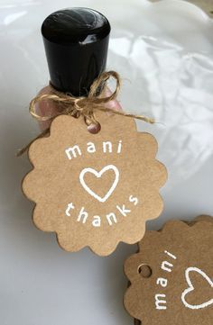 Set of 20 hand embossed gift tags for your bridal shower, baby shower, spa-themed birthday party, or to tie onto special thank you gifts for any occasion! Attach to a bottle of nail polish, to a spa gift bag, or to a manicure-themed gift in a jar. High quality scalloped kraft card tags are hand embossed with mani thanks and a heart. Embossing can be done in white, gold, or black. The circular tags are 2 in diameter (pictured) or 1.5 in diameter. Natural jute twine is included for each tag…