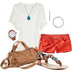 Orange shorts - I need those sandals! Summer Outfits, Casual Outfits, Cute Outfits, Fashion Outfits, Womens Fashion, Orange Shorts, Summer Lookbook, Types Of Fashion Styles, Autumn Winter Fashion
