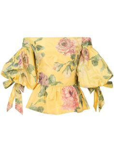 Yellow silk floral print off-shoulder blouse from Marchesa featuring an off the shoulder design, a floral print, a peplum hem and puffy short sleeves with lace… Yellow Off Shoulder Top, Off Shoulder Tops, Off Shoulder Blouse, Beige Top, Marchesa Fashion, European Fashion, Short Sleeve Blouse, African Fashion, Blouse Designs