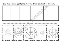 Jack-o-Lanterns - From Smallest to Largest from Miss Jill on TeachersNotebook.com (2 pages)  - Jack-o-Lanterns - From Smallest to Largest by Miss Jill Just in time for Halloween! Color, cut and glue these jack-o-lanterns in order from smallest to largest! Super cute graphics: www.mycutegraphics.com