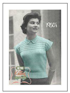 1950's Cap Sleeve Jumper Knitting Pattern  - PDF Instant Download door MyVintageWish op Etsy https://www.etsy.com/nl/listing/235140601/1950s-cap-sleeve-jumper-knitting-pattern