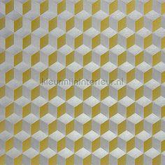 CHROME CUBE 3D JAUNE-ARGENT behang CHR28351903 van Casadeco is verkrijgbaar bij kleurmijninterieur