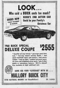 1968 Buick Special Deluxe Coupe at Mallory Buick City Old Advertisements, Ads, Used Car Lots, Des Moines Iowa, Christmas Car, Auto Sales, Pontiac Grand Prix, Car Drawings, The Good Old Days