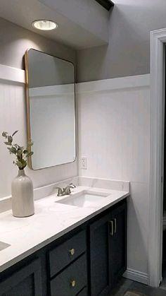 Modern Master Bathroom, Black Tile Bathrooms, White Bathroom Vanities, Double Sink Small Bathroom, Bathroom Vanity Mirrors, Black Cabinets Bathroom, Dark Wood Bathroom, Modern Bathroom Light Fixtures, Bathroom Mirror Makeover