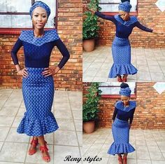 Awesome African Shweshwe Dresses for Women 2017 - Reny styles African Print Dresses, African Fashion Dresses, African Dress, African Prints, African Clothes, Traditional Dresses Designs, African Traditional Dresses, Seshweshwe Dresses, Dress Outfits