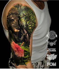 Tattoo Snob — Elephant by in Kazan, Tatarstan. Lazo Tattoo, Tropisches Tattoo, Sketch Tattoo, Baby Tattoos, Leg Tattoos, Body Art Tattoos, Elephant Tattoos, Animal Tattoos, Celtic Tattoos For Men