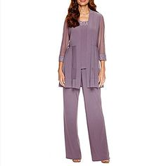 R & M Richards Sleeve Pant Set - Purple - Size 16 - Women's - Pant Sets - Orchid Dressy Pant Suits, Ladies Trouser Suits, Mother Of The Groom Trouser Suits, Casual Wedding Attire, Wedding Outfits, Wedding Dresses, Bridal Gowns, Bridesmaids And Mother Of The Bride, Wedding Bridesmaids
