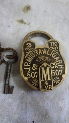 Rare Old Brass Pad Lock-for you 'key & lock' collectors!