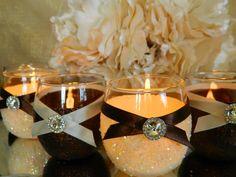 Weddings, Wedding Candles, Candle Holder, Ivory, Votive Holder, Brown, SET OF 6, Tea Light, Wedding Decor, Ceremony Candles, Fall Wedding
