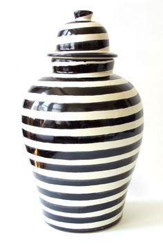 Zebra Tibor in black and white stripes by Talavera Vazquez. $185 #mexico #ceramics #pottery #mexican_ceramics