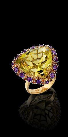 14K yellow and white gold, citrine 23,53 ct, orange sapphires, amethysts.