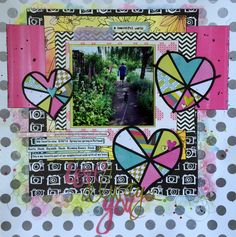 Layout by Becky Springer uses the Pie Hearts cut file from The Cut Shoppe.