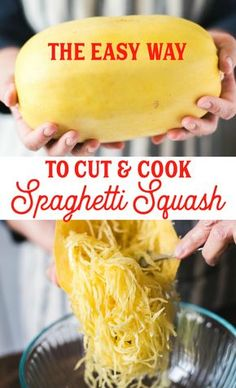 to Cut and Cook a Spaghetti Squash How to cut and cook spaghetti squash with an Instant Pot or to bake in an oven. The easiest way!How to cut and cook spaghetti squash with an Instant Pot or to bake in an oven. The easiest way! Yummy Recipes, Vegetable Recipes, Vegetarian Recipes, Cooking Recipes, Diet Recipes, Vegetarian Main Dishes, Cooking Bacon, Cooking Games, Cooking Videos