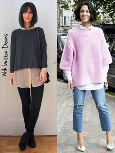 14 ways to wear oversized sweaters. oversized-sweaters-with-button-down-shirts