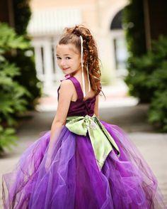 #BBC Purple Flower Girl Tutu Dress w Kimono Style Sash by PoshBabyStore.com