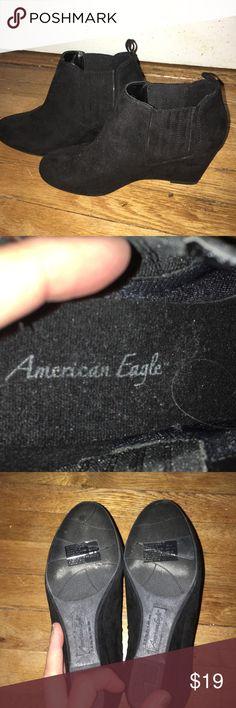 American Eagle Black Faux Suede Booties 9 American Eagle Black Faux Suede Booties 9 Worn once. Wedges. American Eagle By Payless Shoes Wedges