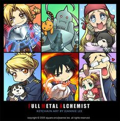 Edward Elric, Alphonse Elric, Winry Rockbell, Riza Hawkeye, Roy Mustang, and Maes Hughes Chibis from Fullmetal Alchemist