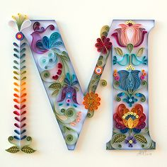 Examples of Creative Paper Typography Art By Anna Chiara Valentini - Paper quilling - Arte Quilling, Quilling Letters, Paper Quilling Patterns, Quilled Paper Art, Quilling Paper Craft, Paper Crafts, Quilling Ideas, Quilling Comb, Paper Quilling Tutorial