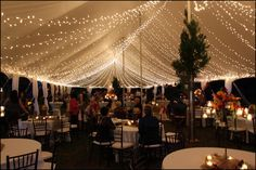 String light wedding tent. YES. This is just so romantic at night!
