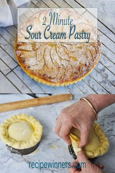 2 Minute Sour Cream Pastry is going to change your life. Rich tender melt-in the-mouth flaky and a complete doddle to make and work with. It's super quick foolproof and very forgiving. savoury pies desserts sweet easy to make Pastry Recipes, Pie Recipes, Gourmet Recipes, Baking Recipes, Dessert Recipes, Savoury Recipes, Sweet Recipes, Desserts, Chicken Recipes