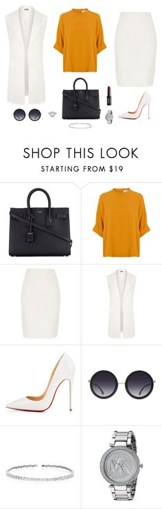 """Untitled #1618"" by alex-gucka ❤ liked on Polyvore featuring Yves Saint Laurent, River Island, WearAll, Christian Louboutin, Alice + Olivia, Suzanne Kalan, Michael Kors and NYX"