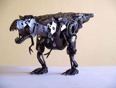 Robot T-Rex sculpture.