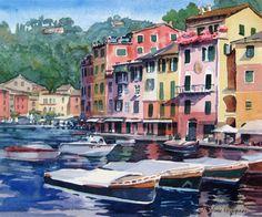 """Portofino"" italian #watercolor #paintings by Jill Stefani Wagner"