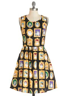 Mew-seum Visit Dress. If youre a portraiture appreciator, youll find this black cotton dress to be your wardrobe's collectors edition! #multi #modcloth