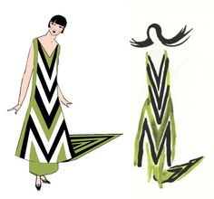Sonia Delaunay evening dress with train refashioned for sewing.