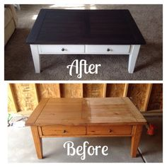 little bit of paint: refinished coffee table. getting ideas for