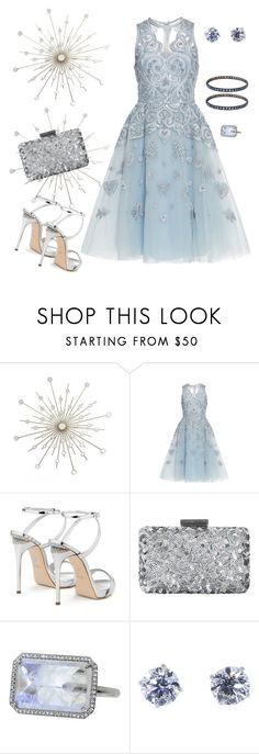 """blue embroidered dress"" by marlenewelke ❤ liked on Polyvore featuring Elie Saab, Giuseppe Zanotti, Oscar de la Renta, Irene Neuwirth, Maison Margiela and Yossi Harari"