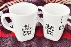 """""""I personalized mugs for my husband and me using just a Sharpie. It's so easy! Choose plain ceramic or porcelain mugs (ours are from Target), draw your design, and bake for 30 minutes at 350 degrees F. Hand-wash. The worst that can happen if you don't? Your drawing might fade — then you just remake and re-bake."""" –Elsie Larson of A Beautiful Mess   - Redbook.com"""