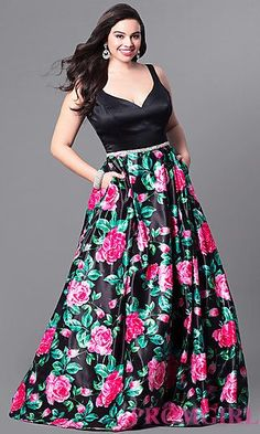 Long Plus Size V-Neck Prom Dress with Print Skirt at PromGirl.com