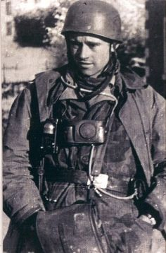 """kampfgruppe: """" Robert, pictured during the Ardennes Offensive. Robert Wulff, born on August 9, 1919 in Oberlarg (today's Alsace) became a German Paratrooper with the age of 21 while attending the Jump school in Wittstock / Pomerania (Fallschirmschule...pin by Paolo Marzioli"""
