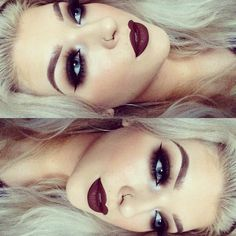 beautiful dark vampy lips and dark smoky eyes MAKEUP GOALS Gorgeous Makeup, Pretty Makeup, Love Makeup, Makeup Inspo, Makeup Goals, Makeup Tips, Beauty Makeup, Makeup Ideas, Makeup Hacks