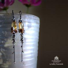 Moonbeams Jewelry by Adity Karande. Handmade Earrings: Champagne Citrine, Keshi Pearls, and Rice Pearls on Sterling Silver.
