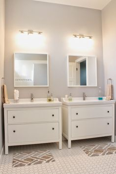 Side by side Hemnes sink cabinets for girls. Or double sink version, depending on sizing.