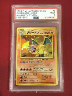 Pokemon PSA 9 MINT Charizard Holo No Rarity Symbol ERROR Card Japanese Charizard, Rarity, Mint, Symbols, Japanese, Cards, Ebay, Japanese Language, Icons