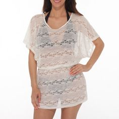 Lace Dolman Sleeve Cover Up in white
