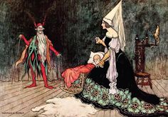"""Warwick Goble ~ Rumpelstiltskin ~ The Fairy Book by John Halifax ~ MacMillan ~ 1913 ~ via """"'Are you not sometimes called Rumpelstilzchen?'"""" … page 96 Art And Illustration, Free Illustrations, Illustration Children, Rumpelstiltskin, Warwick Goble, Brothers Grimm, Fairytale Art, Book Cover Design, Graphic"""