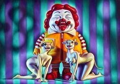 Ronald McDonald and two cowgirls (Ron English)
