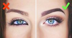 do and do not eye makeup- Makeup tricks every girl should know www. Make-up-Tr Makeup Tricks, Eye Makeup Tips, Skin Makeup, Eyeliner Makeup, Apply Eyeliner, Makeup Tutorials, White Eyeliner Waterline, Makeup Ideas, White Eyeliner Tricks