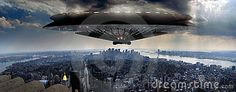 A giant Ufo approaches  Manhattan, on a panoramic view as seen from the Empire State building, beginning an alien invasion.