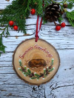 Mother and Child: Large Rustic Tree Ornament by AliceCEades