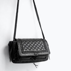 Image 6 of QUILTED LEATHER CITY BAG from Zara