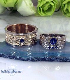 Custom Celtic Rings with Ceylon Blue Sapphires