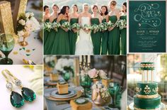 Emerald Green & Gold Wedding Ideas. Love the green glasses and bridesmaids dresses