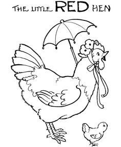 Little Red Hen Colouring Pages Free 1920s