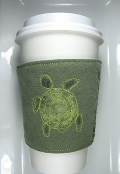 Sea Turtle Coffee Cozy by CreamNoSugar on Etsy, $9.50
