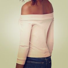 "NWTTOPSHOP Half Sleeve Bardot Top - Fits 2-4 Palest pink ribbed top with half length sleeves.  Shoulders can be worn up or down for versatility to work and play.  Labeled ""EUR 38, US 6, UK 10. Fits like a US 2-4."".  Also available in 8 (US 6-8) Topshop Tops"